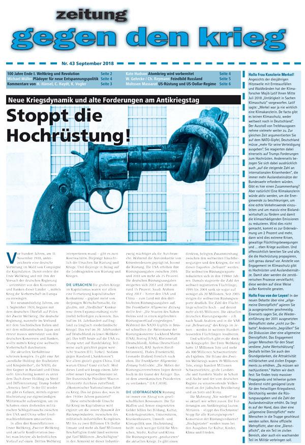 Cover Zeitung gegen den Krieg 43
